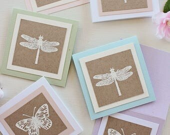 Gift Enclosure Cards, Gift Tags, Butterfly and Dragonfly