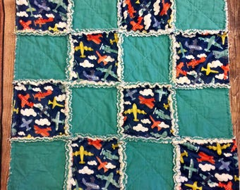 Baby Rag Quilt, Airplanes, Minky,Baby Blanket,baby shower,boy baby shower,teal blanket,boy baby blanket,Ready to Ship