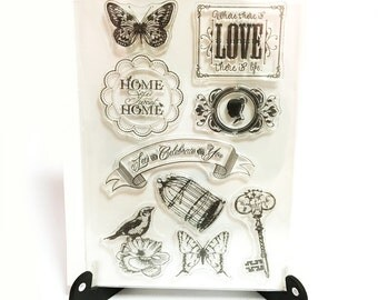 Home Sweet Home Stamp, Clear Transparent Stamp, Rubber Stamp, Planner Journal Accessories