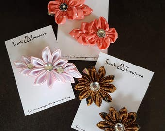 Flower Hair Clip, Flower Barette, Scrap Fabric Clip, Recycled, Upcycled, Trash to Treasure, One of a Kind Gift
