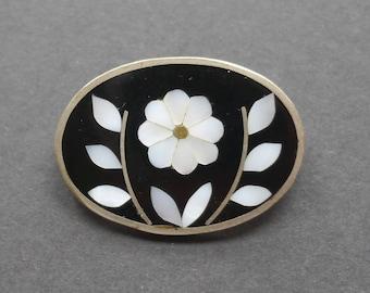 Black enamel Mexican mother of pearl flower brooch, Alpaca style jewellery