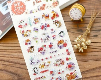 Anemone cat puffy stickers