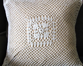 "Pillow cover - 18 ""X 18"" - - original - unique-polyester-cotton crochet beige - art to spruce up """
