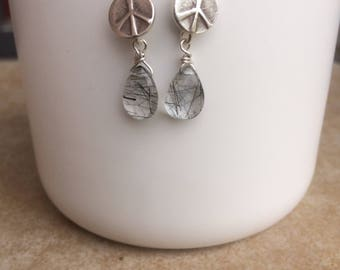 Hill Tribe Silver Peace Earrings with Rutilated Quartz Briolettes