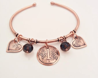 Copper Personalized Initial Charm Bracelet