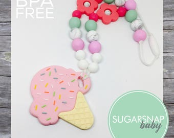 Silicone Teething Necklace - CHEWLERY -ice cream necklace for kid or Baby Chew Necklace - autism - baby sensory necklace