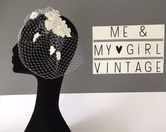 Fab Flower Birdcage Veil, Birdcage Veil, Short Wedding Veil, Flower Veil, Fascinator With Veil, Veil With Flowers, Flower headpiece