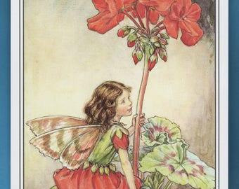 The Geranium Flower Fairy,  Cicely Mary Barker Flower Fairy Book Plate Print