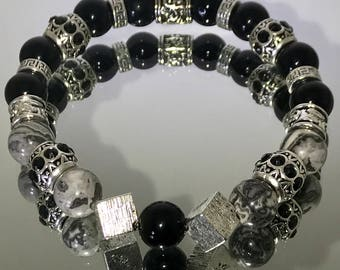 """8"""" 10mm,Gray silk jasper and black onyx with silver accents bead bracelet"""
