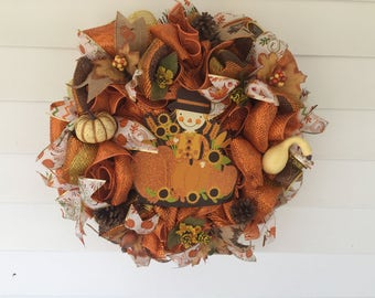 Scarecrow Fall Thanksgiving Autumn Harvest Holiday Wreath/Front door decor