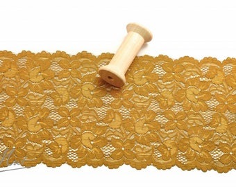 Lace trim - golden brown - 160 mm - elastic
