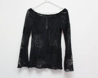 90's Black Lace Goth Punk Bell Sleeve Off Shoulder Top