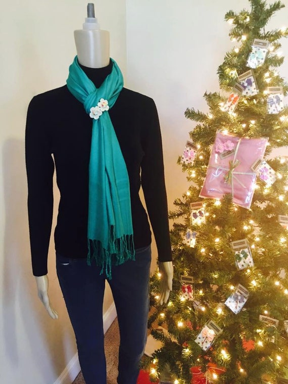 Green scarf and handmade flower brooch set! High Quality Pashmina 100% Cashmere