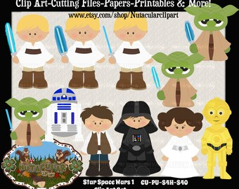 Star Space Wars 1 Clip Art Set – Commercial use - Scrapbooking Card Making Clip Art – Kids Star Wars Clip Art  Instant Download