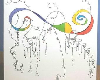Swirls, hand drawn original blank greeting card