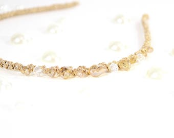 Beaded Gold Headband For Girls and Adults, Metal Headband
