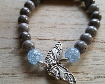 Gray and blue beaded butterfly bracelet