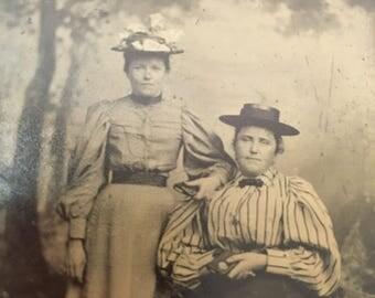 """Vintage Tin Type Photo Two Women Posing 3.5"""" X 2.5"""""""