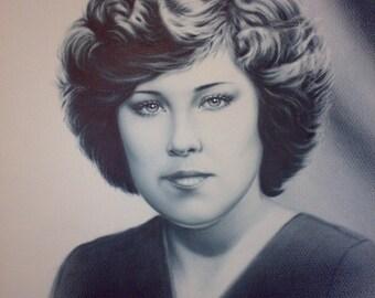 Portrait on order. Dry brush.