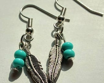 Turquoise and Feather Dangle Earrings