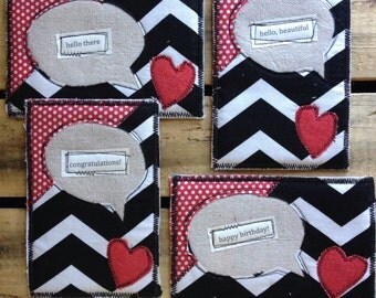 4 Fabric Chevron Heart Postcards - Fabric Postcard - Teacher Gift - Birthday Card - Thinking of You - Congratulations Card - Gifts for Her