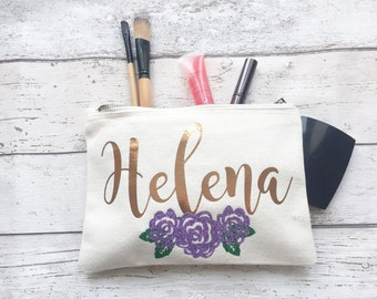 Personalised make up bag | Personalised gift | Bridesmaid gift  | Personalised Birthday gift | Wash bag | Personalised glitter bag | flower
