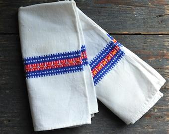 antique linen napkins, hand loomed linen tea towel,