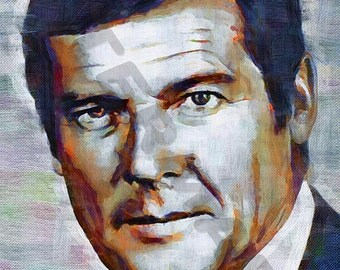 Roger Moore Art Print - Oil Painting Poster  LFF0163