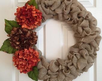Burlap Hydrangea Wreath - Fall Burlap Wreath - Fall Hydrangea Wreath - Fall Wreath for Front Door - Burlap Wreath for Front Door