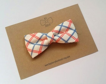Boy's, Toddler, Baby, Blue and Coral Plaid Bow Tie