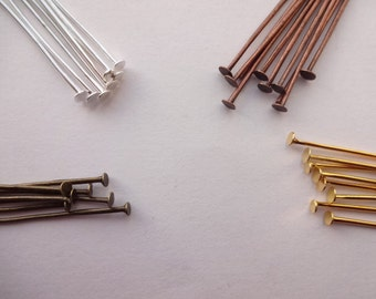 200 x Flat Head Headpins in Gold Silver Bronze Black and Copper - Head pins in Various sizes to choose