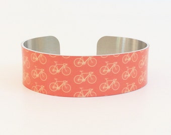 Bicycle Bracelet - Bike Narrow Cuff Bracelet - Cuff Jewelry - Modern Bracelet - Cyclist Jewelry - Cuff Bracelet
