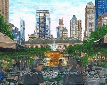"Printable Illustration ""Bryant Park NYC"""