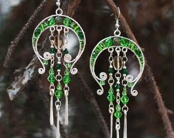 Fantasy earrings  Green Gift for her  Gift Silver earrings Fairy earrings Wire Wrapped Handmade Earrings