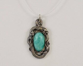 Sterling Silver 925 Dragon Green Agate Stone Pendant(00979)