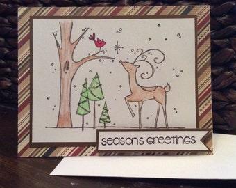 Christmas card, Seasons Greetings, hand made, riendeer card, holiday card, embellished