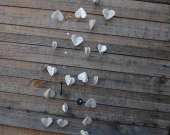 hanging hearts book mobile book page mobile book decor nursery decor book page art