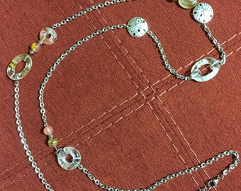"38"" Stainless Steel & Glass Bead Necklace - Pinks and Earthtones - Sand Dollars"