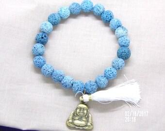 B021708 Blue Grey Lava Rock With Tassel and Buddha Charm Bracelet.