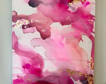 Magenta and Fuschia Original Painting, Abstract Art, Stretched Canvas, 24x30, Original Artwork, Modernart, Watercolor Art, Abstract painting