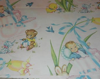 Vintage Wrapping Paper - Baby in a Bootie