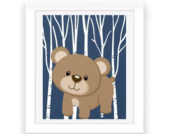 Baby Room Forest Wall Decor - Bear Print - Digital Print - Nursery Art - Baby Decor - Instant Download, Baby Room Wall Art - Baby Print