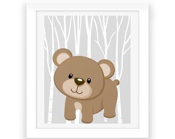 Baby Room Woodland Wall Decor - Digital Print - Woodland Nursery Download - Nursery Wall Art - Baby Room Wall Art - Woodland Animals - Baby