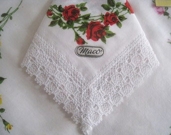 White cotton handkerchiefs with lace, rose pattern, Maco cotton, vintage 1960, communion gift,