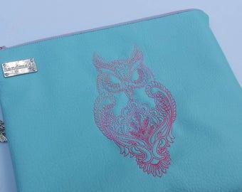 Faux leather Owl clutch, owl clutch, embroiderd clutch