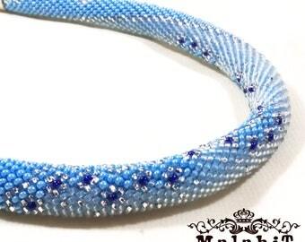 Beaded Crochet Necklace Rope Gift for Her for Mom Original. Rime.