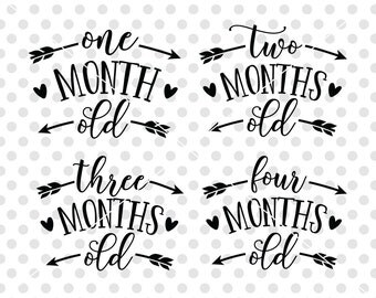Age Months Baby SVG DXF Cutting File, Baby Onesie SVG Dxf Cut File, Birthday Month Svg Cutting File, One Month Svg, Two Months Svg