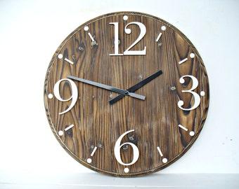 "Wooden clock Rustic wall clock 16"" Home decor  Farmhouse clock"