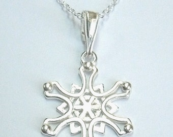 Sterling Silver Snowflake Pendant Chain Necklace #2 - snowflake charm necklace - gift for her - present gift birthday - christmas wedding