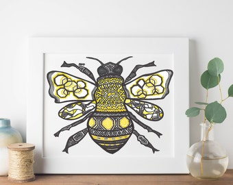 Queen Bee- Bee Zentangle Print- Bee Art- Bee Design Printable